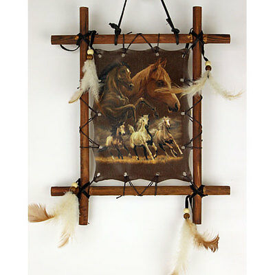 "11""x 9"" Horses Equestrian Dream Catcher Wall Hang Decor Feathers Framed Beads"