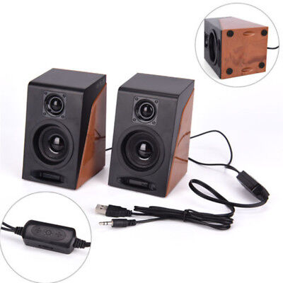 2*Portable USB Powered Audio Stereo Speaker System Fit For PC Laptop Computer TV