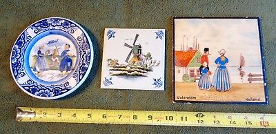 lot of 3 DELFTS BLUE ceramic HOLLAND WINDMILL color POLYCHROME MOSA TILES PLATE