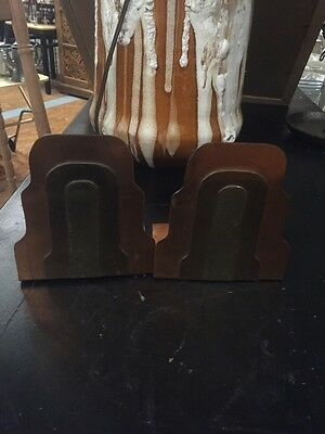 Vintage Mid Century Modern Abstract Copper Brass Bookends Book Holder