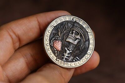 Hobo Nickel,1888 One Dollar Morgan Coin Hand Engraved by Panja Pojiew.