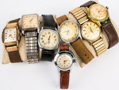 LOT OF 7 VINTAGE MEN'S Watches For Parts or Repair - Benrus, Timex, Rila, Wakman