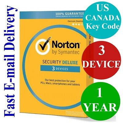 Norton Internet Security Deluxe 3 Device / 1 Year (US & CANADA Key Code) 2019