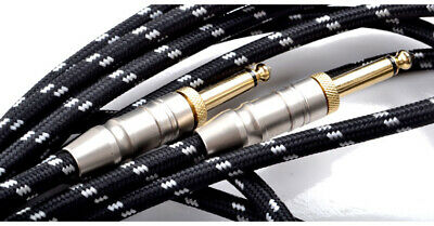 "10M Classic Braided Tweed Guitar Lead Gold Jack Instrument Cable 1/4"" 6.35mm"