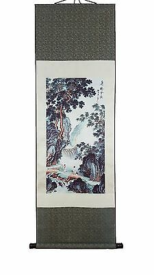Chinese Silk Scroll Painting - Two Monks meet at the bridge