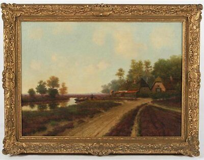 Late 19th Century Antique European Landscape Oil Painting Signed