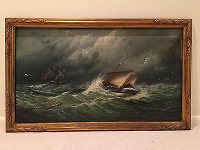 Antique Seascape Ships Signed Oil Painting late 19th Century Signed c 1884
