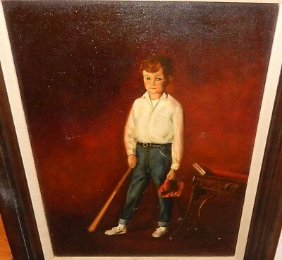 Morilla School Boy With A Baseball Bat And Glove Oil On Canvas Painting 1969