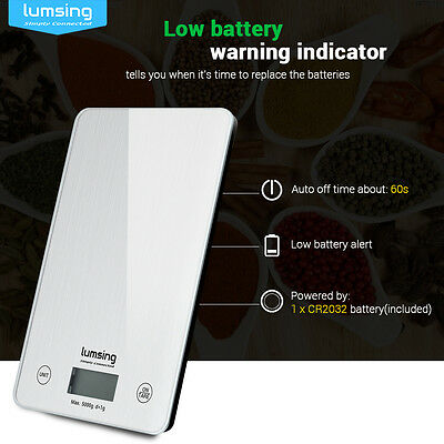 Lumsing Digital LCD Kitchen Scale Food Diet Postal Weight Balance New 11lbs/5kg