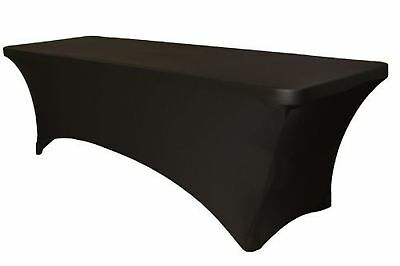 Black Spandex Table Cover 8 ft feet Rectangular Stretch Fitted Tablecloth... New