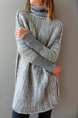 Womens Long Sleeve Cardigan Knitted Sweater Knitwear Outwear Shirt Dress Size M