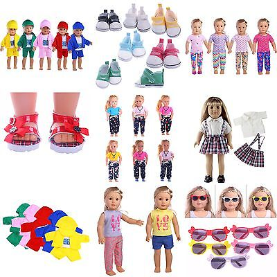 Lot Doll T-shirt Pants Shoes Dress Accessories For 18 inch Doll Clothes Toy Gift