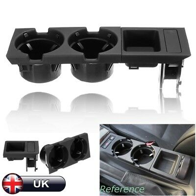 Center Console Coin Storage Box & Cup Drink Holder Black 51168217953 For Bmw E46