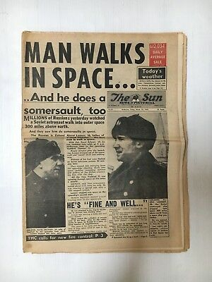 Man Walks In Space The Sun Whole Newspaper From March 19Th 1965