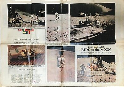 "Man On The Moon Newspaper The Age ""ride On The Moon"" Colour Lift-Out"