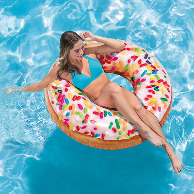 """45"""" Intex Inflatable Giant Donut Sprinkle Tube Pool Float Swimming Ring Lounger"""