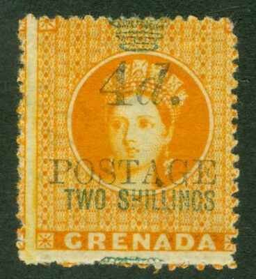 SG 42 Grenada 1888. 4d on 2/- orange. Fine mounted mint CAT £70