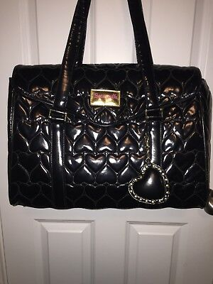 Betsey Johnson BETSEYVILLE Black Patent Large Tote Weekender Lap Top Bag Heart
