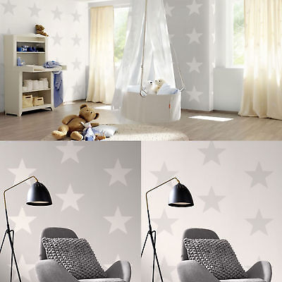 Star Wallpaper Teens Kids Stars Bedroom Feature Luxury White & Grey By Rasch