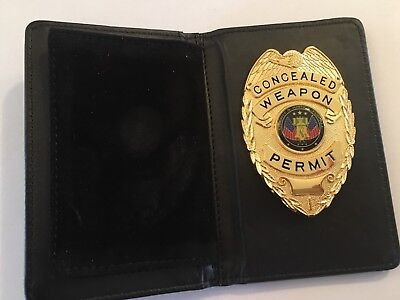 Concealed Weapons Permit badge & leather wallet all are NEW