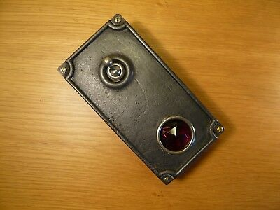 """Vintage Industrial Light Switch """"Crabtree"""" Cast Iron Red Ruby Unusual RARE ITEM"""