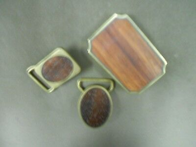 Vintage BTS - Lot of 3 - Crafted Wood Inlay in Solid Brass Belt Buckles