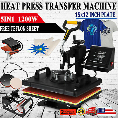 "Digital 5in1 Transfer Heat Press Machine 15""X12"" Sublimation T-Shirt Mug Hat"