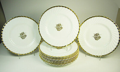 Set of Eleven (11) MINTON Gold Crocus Dinner Plates H4765 -10.75""