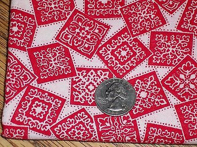 Vintage Feed Sack Feed bag Quilt Fabric Red & White Flowers Boxes Dots