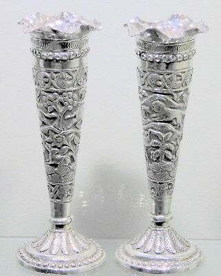 Anglo Indian Solid Silver Pair of Vases. Lucknow, 1890s.  111 Grams