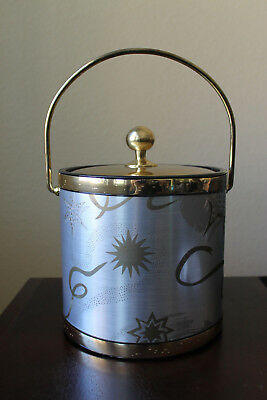 Vintage Kraftware Silver & Gold Ice Bucket Holiday New Years