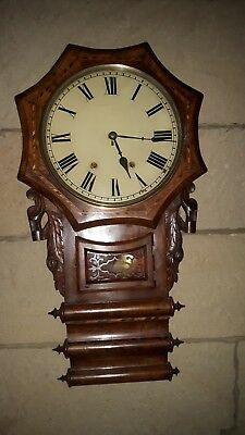 Anglo American , triple scroll , inlaid , drop dial wall clock .