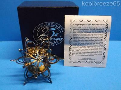 Longaberger 25th Anniversary Silverplate Christmas Ornament 1973-1998 IOB