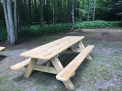 Wooden Picnic Table - solid, hand made, 8ft long