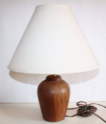 Vintage Mid Century Danish Modern Teak Wooden Table LAMP w/Shade