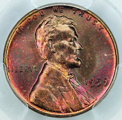 1959 PCGS MS65RB Attractively Toned Lincoln Cent