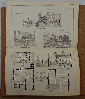 Antique Architects print A Gamekeepers cottage and Kennels  42cm x32cm