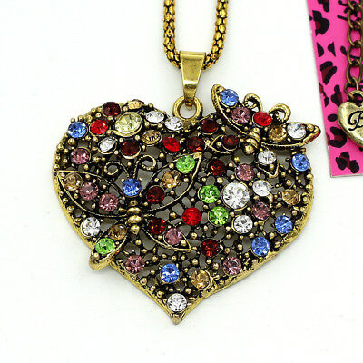 Betsey Johnson Crystal Butterfly Flower Love Heart Retro Pendant Chain Necklace