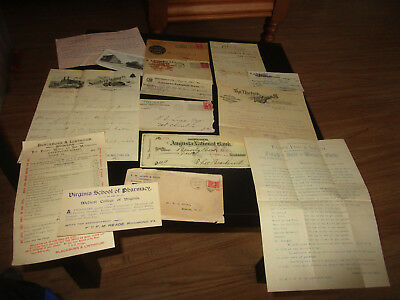 Old antique Vintage Paper Lot Invoices Envelopes Etc. 1800's to Early 1900's