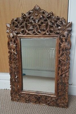 Arts and Crafts Gothic style oak carved wall mirror contemporary decor hall