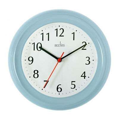 Acctim Wycombe Soft Blue Wall Clock 21cm Kitchen Office Bedroom Lounge - 21417