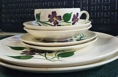 Blue Ridge Pottery French Violets Cup+ 2-Saucers Berry Bowls Dinner Plates =7pc