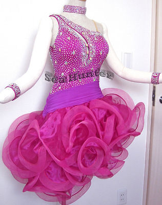 U4046 Cocktail ballroom women chacha Latin salsa rumba dance dress tutu US 10
