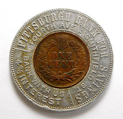 1901 Indian Head Cent Good Luck Encased Coin - Pittsburgh Bank for Savings