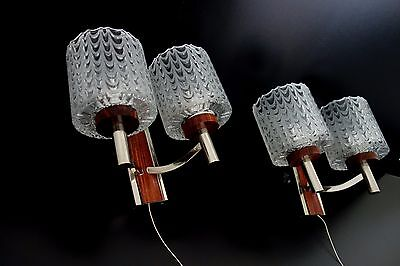 Pair Of Mid Century Vintage Chrome & Glass Wall Lamps Sconces Germany 1960s/70s