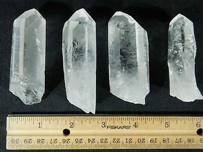 Lot of FOUR! Larger Nice and 100% Natural Quartz Crystals From Brazil 259gr e