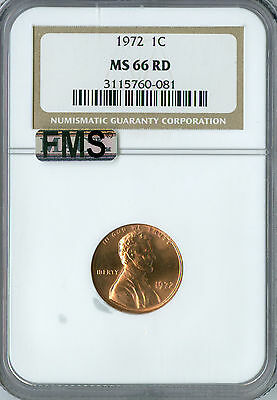 1972 Lincoln Cent Ngc Mac Ms 66 Red Fms Full Memorial Steps   .