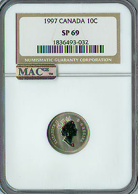1997 Canada 10 Cents Ngc Mac Sp-69 Pq Finest Grade Rare Spotless .