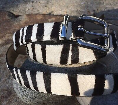 NWT SZ 1X TALBOTS WMN SKINNY ZEBRA PRINT PONY FUR and 100% LEATHER BELT