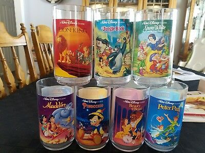 New Lot of 7 1994 Walt Disney Burger King Collector Series Glasses Cups